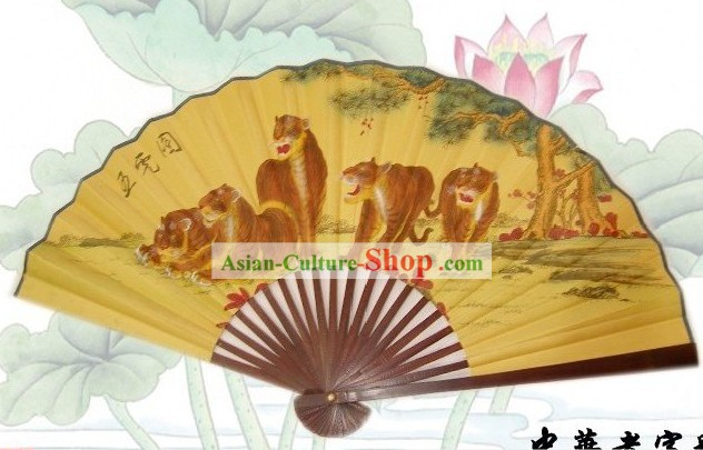 65 Inches Chinese Traditional Handmade Hanging Silk Decoration Fan - Tigers Family