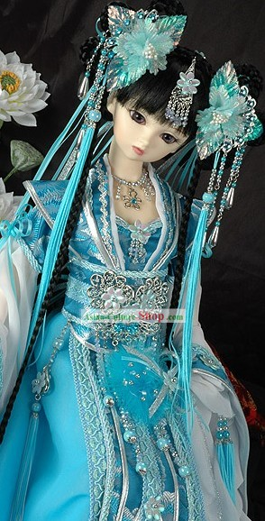 Chinese Ancient Blue Princess Costume and Hair Accessories Complete Set