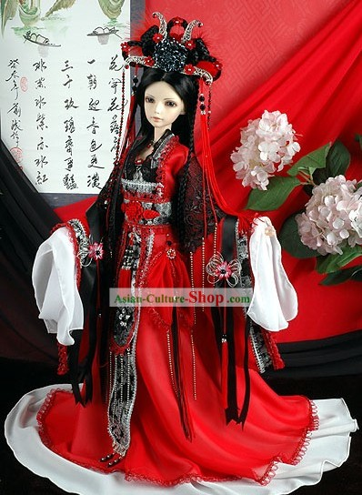 Supreme Chinese Empress Costumes and Hat Complete Set