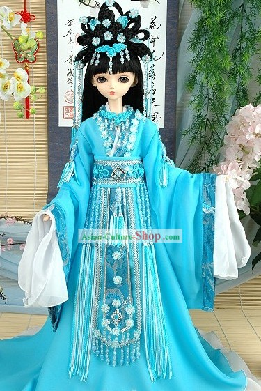 Chinese Ancient Princess Blue Costume and Hair Accessories Complete Set
