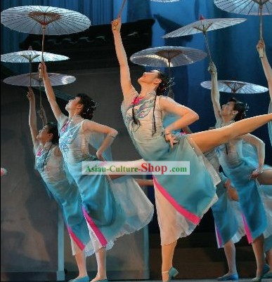 Chinese Traditional Umbrella Dance Costumes Complete Set