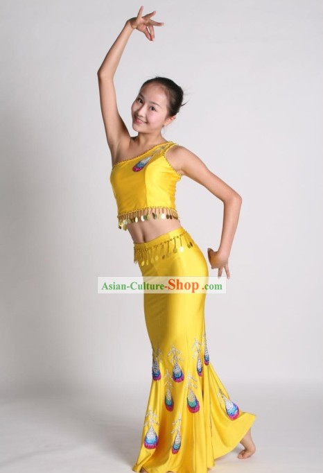 Thaï traditionnel Peacock Set Danse Costume complet