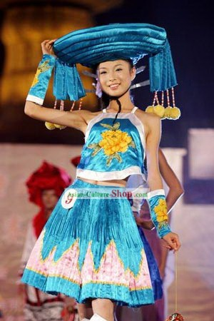 Chinese Traditional Minority Costumes and Hat Set