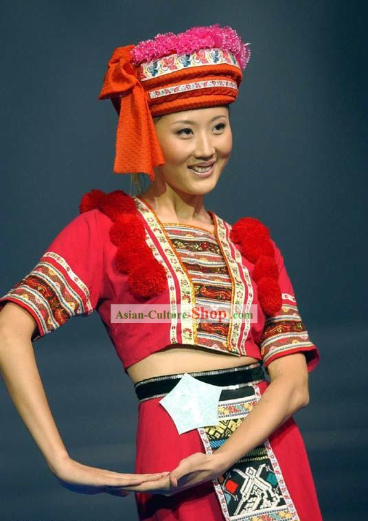 Chinese Lucky Red Bai Minority Classic Costume and Hat For Women