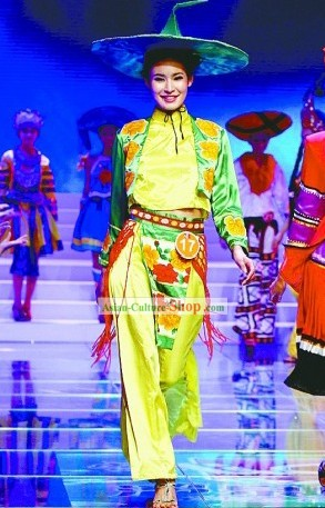 Chinese Traditional Minority Costume and Bamboo Hat Set