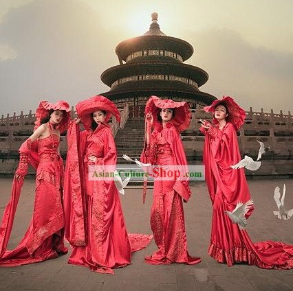 Chinese Lucky Red Long Silk Costumes and Hat Complete Set