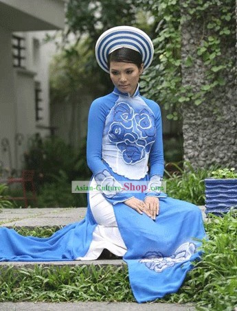 Vietnamese National Long Cheongsam Costume and Hat Set