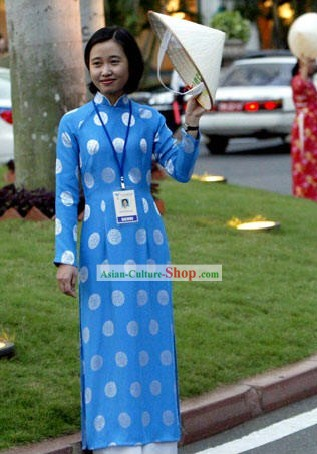 Vietnamese Traditional Blue Ladies Long Costume