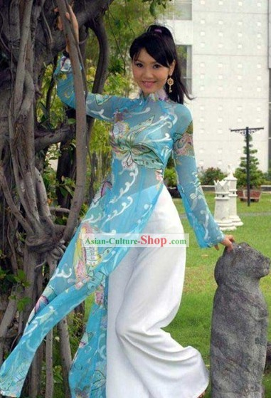 Vietnamese National Blue Butterfly Costume for Girls
