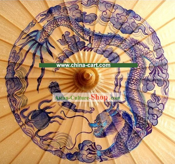 Chinese Ancient Palace Half Knitting Dragon and Phoenix Decoration Umbrella