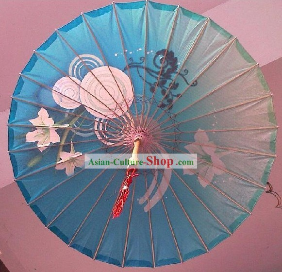 Chinese Traditional Hand Made Blue Flower Umbrella
