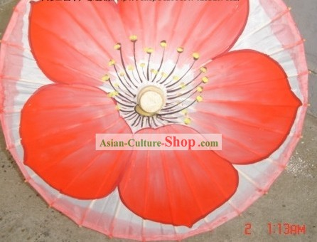 Chinese Classic Red Flower Dance Silk Umbrellas