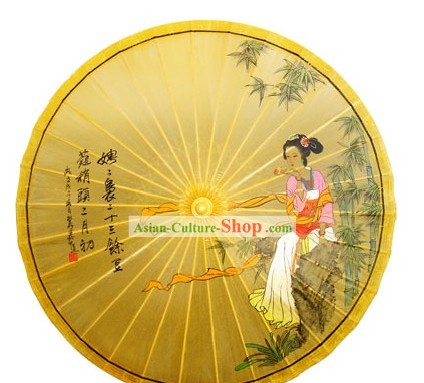 Chinese Hand Painted Ancient Beauty Painting Umbrella