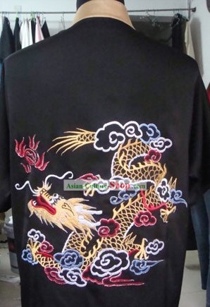 Chinese Professional Sifu Embroidered Dragon Tai Chi Uniform