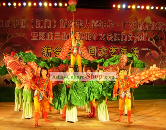 Supreme Traditional Lotus Dragon Dance Equipments and Costumes Complete Set for Women