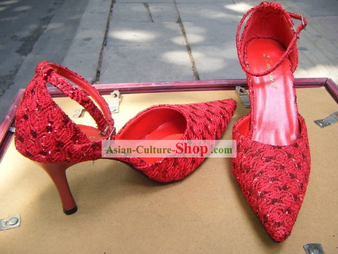 Chinese Traditional Red Shinning Wedding Shoes