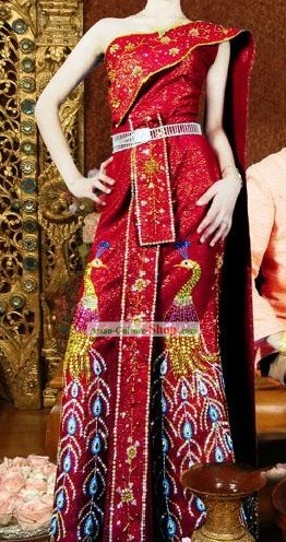 Thaï traditionnel Cour Paon Robe Set Costume complet
