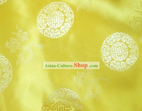 Chinese Gold Dragon Brocade Fabric