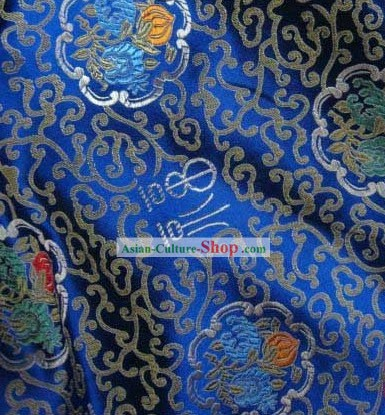 Lucky Fu and Flower Silk Fabric