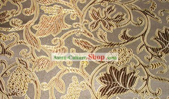 Brown Silk Fabric with Floral Pattern