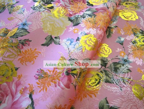 Pink Flower Brocade Fabric