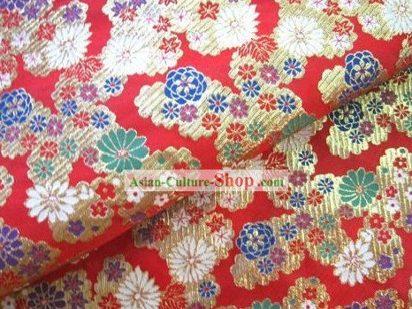 Chinese Traditional Flower Brocade Fabric