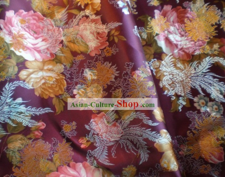 Phoenix and Flower Brocade Fabric