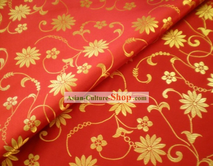 Golden Flower Brocade Fabric