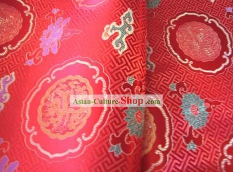 Chinese Traditional Red Dragon Fabric