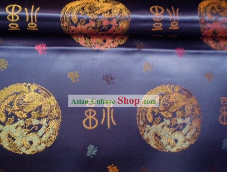 Traditional Dragon and Fu Brocade Fabric