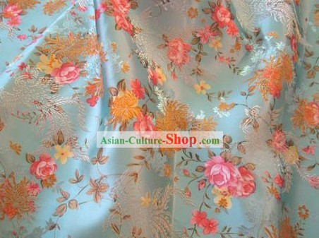 Light Blue Flower Phoenix Brocade Fabric