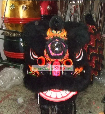 Professional Competition and Parade Long Wool Lion Dance Costumes Full Set