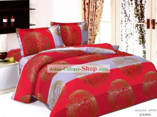 Chinese Red amd White Traditional Wedding Dragon Phoenix Bedding Set