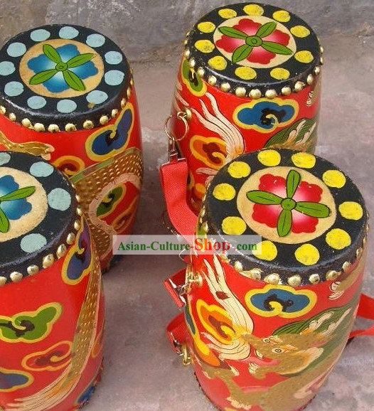 Traditional Chinese Wood Handmade Flower Drum/Mini Dragon Drum Kit/Chinese Drum for Dancing