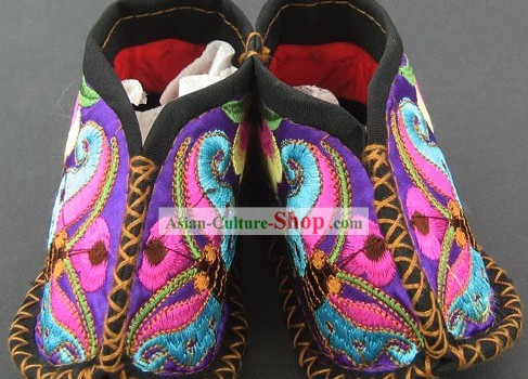 Embroidered Miao Minority Baby Shoes/Satin Shoes
