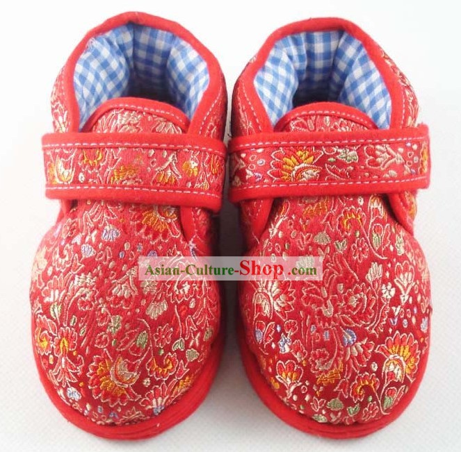 Chinese Handmade Children Cotton and Silk Shoes