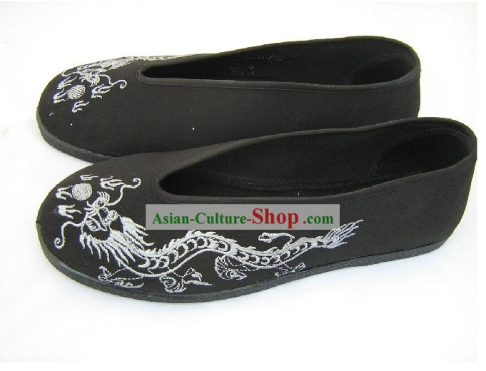 Chinese Hand Made Folk Dragon Black Cloth Shoes/Men Dragon Shoes