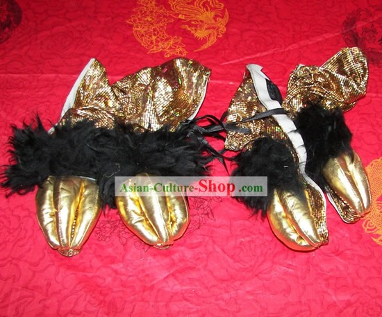Lion Shoes/Lion Dance Shoes Cover/Lion Dance Sequin Shoes/Lion Dance Fur Shoes