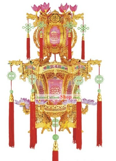 Chinese Classic Lotus and Jade Electric Palace Lantern
