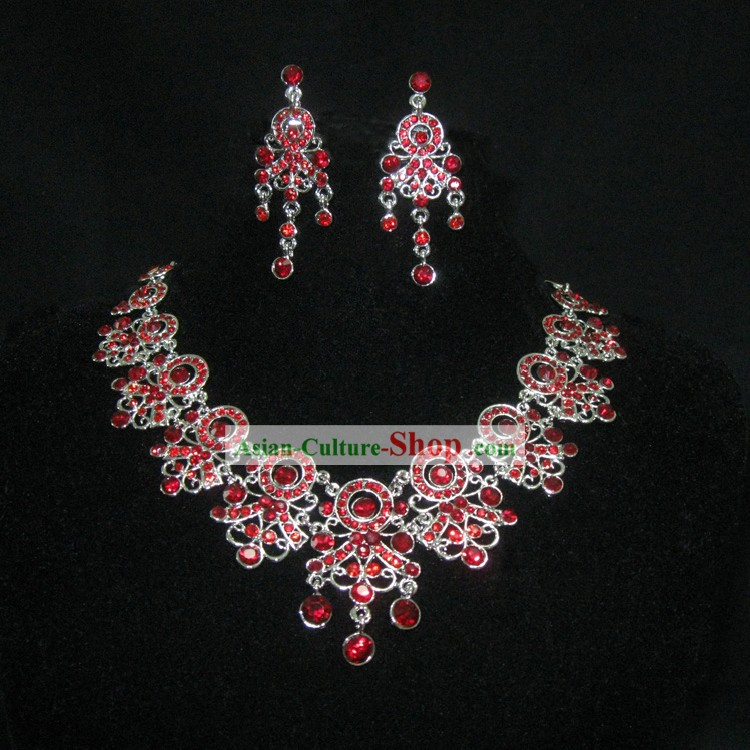 Red Necklace and Earrings Chinese Wedding Jewelry Set