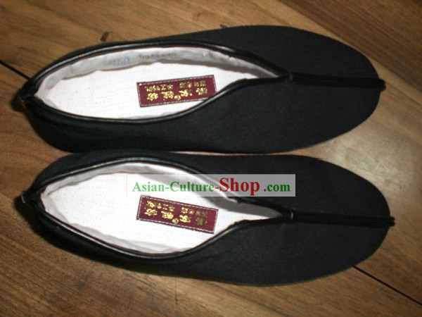 Plain Black Traditonnal Cotton Chinese Shoes