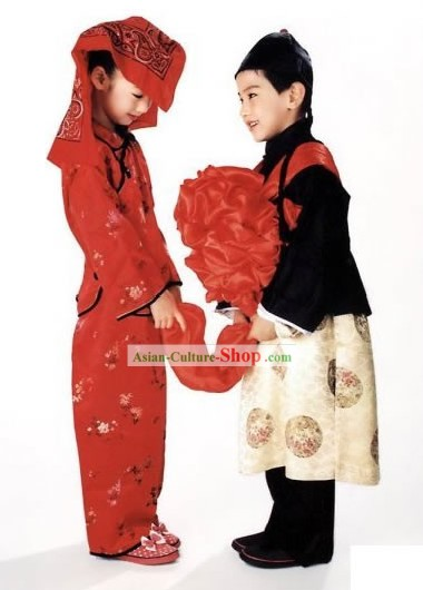 Chinese Traditional Wedding Costumes 2 Complete Sets for Children Stage Performance