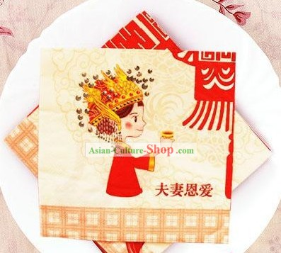 Traditional Chinese Style Three-ply Happy Bride Wedding Napkin