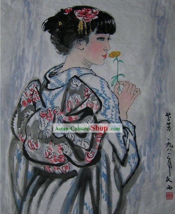 Traditional Japanese Painting Geisha by Liu Wenxi/Geisha Art Paintings