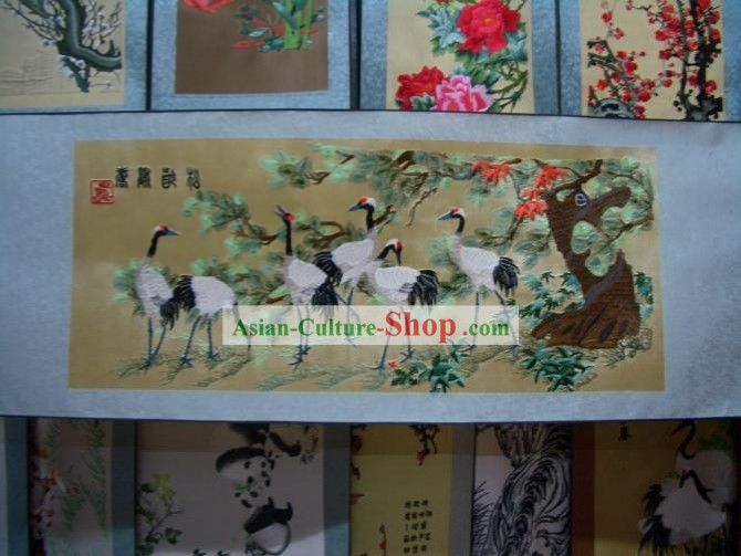 Chinese Silk Crane Painting