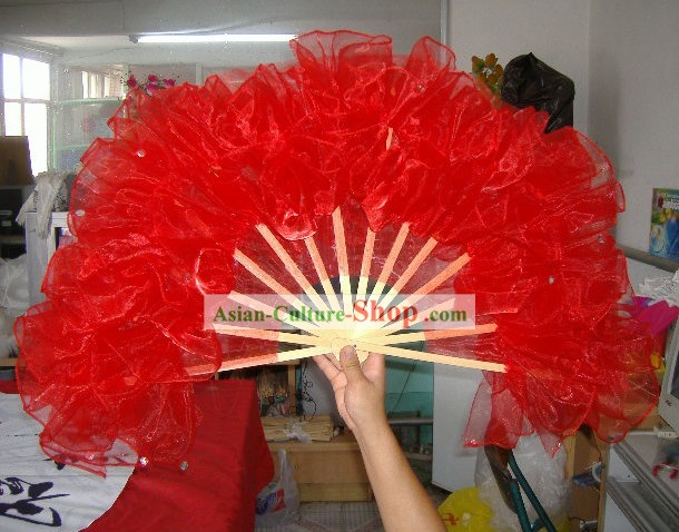Professional Chinese Traditional Dance Gauze Fan