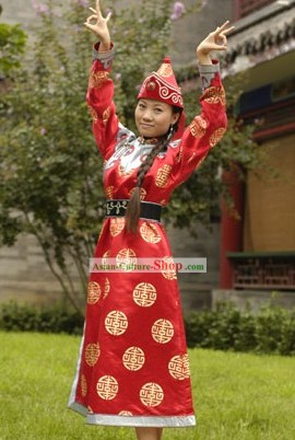Chinese Owenke Minority Dress and Hat Complete Set