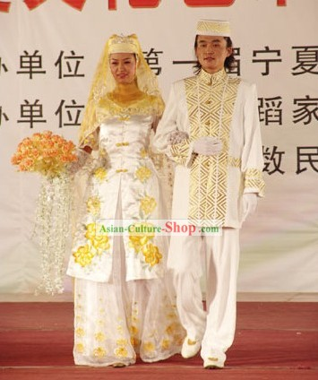 Chinese Hui Minority Wedding Dress 2 Sets for Bride and Bridegroom
