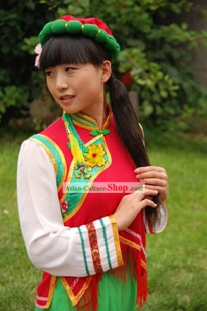 Chinese Dongxiang Minority Clothing and Hat Complete Set
