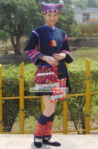 Chinese Traditional Hani Minority Dress and Hat Set